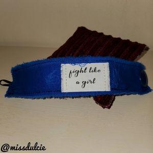 Fight Like A Girl Cuff Bracelet Blue